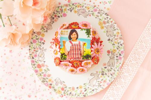 お花いっぱいフォトケーキ チョコ生クリーム 4号 12cm
