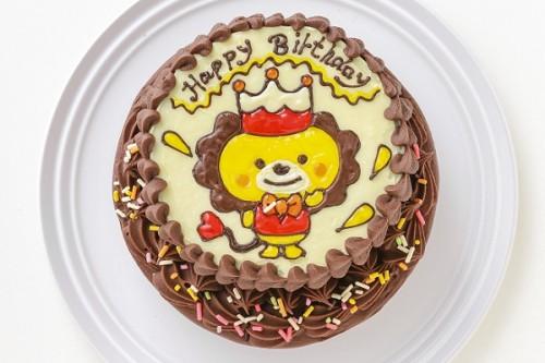 イラストデコレーションケーキ チョコ生クリーム 5号 15cm