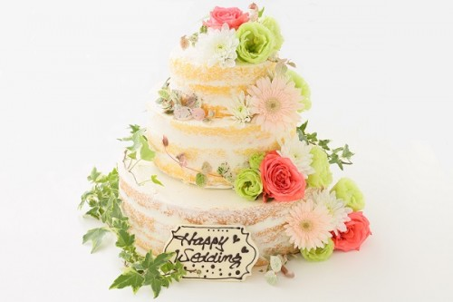 生花アレンジのパーティ用ネイキッドケーキ 3段 10号×7号×5号