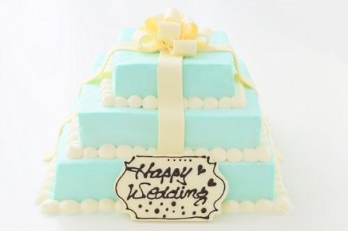 カラーが選べるプレゼントボックスケーキ 3段 30*30cm×21*21cm×15*15cm