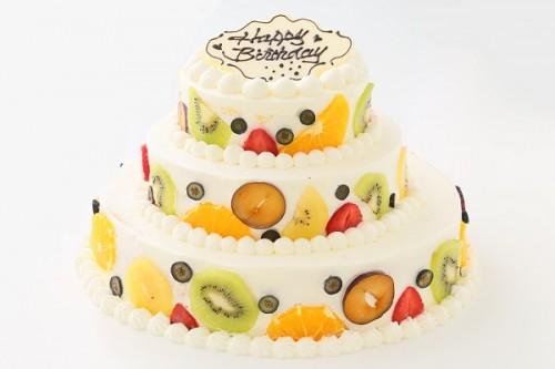 カラフルフルーツのパーティ用デコレーションケーキ 3段 10号×7号×5号