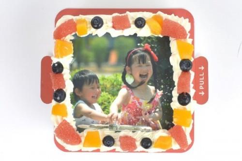 スクエア 写真ケーキ(アメリカへの配送のみ承っております。)
