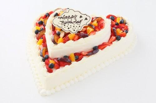 ハート型フルーツデコレーションケーキ 2段 10号×6号
