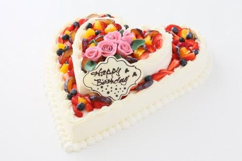 薔薇付きハート型フルーツデコレーションケーキ 2段 10号×6号