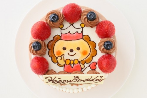 純生チョコ苺ショートイラストデコレーションケーキ 4号 12cm
