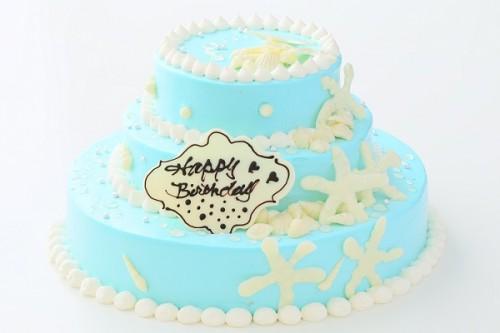 海のデコレーションパーティケーキ 3段 10号×7号×5号