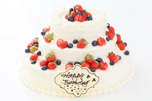 苺のパーティデコレーションケーキ 3段 10号×7号×5号