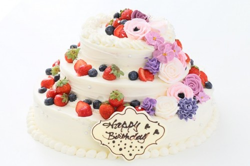 フラワー添え苺のパーティデコレーションケーキ 3段 10号×7号×5号
