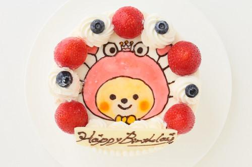 純生苺ショートイラストデコレーションケーキ 5号 15cm