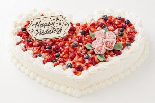 ハート型薔薇デコレーションケーキ 1段 28×35cm