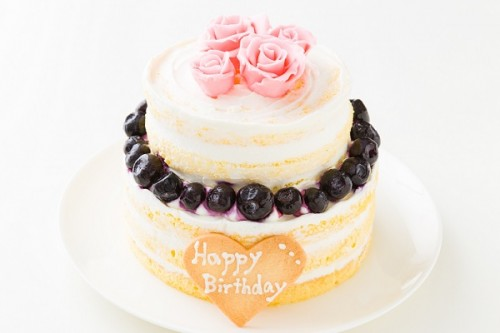 バラのネイキッドケーキ 下段5号+上段4号
