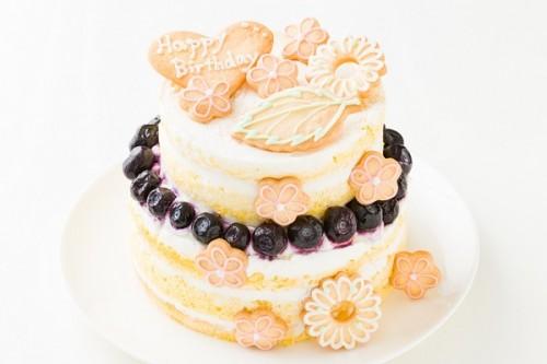 花のクッキーつきネイキッドケーキ 下段5号+上段4号