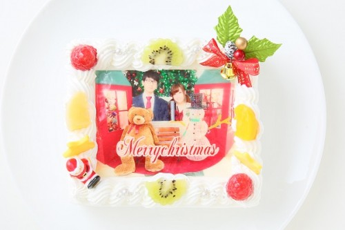 クリスマスケーキ2018 クリスマス写真ケーキ 14cm×12cm