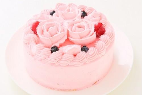フラワーケーキ丸形イチゴクリーム 4号 12cm