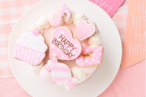 アイシングクッキー乗せ プリンセスケーキ 5号 15cm