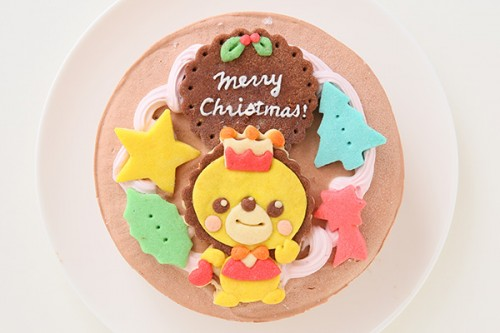 クリスマスケーキ2018 卵・乳製品除去(イラスト1体顔のみ)国産小麦粉使用 キャラクタークッキーのクリスマスデコレーションケーキ 4号 12cm チョコ生