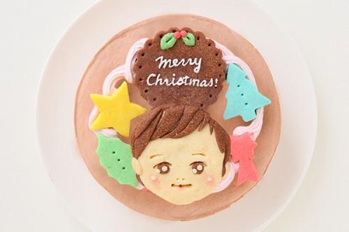 クリスマスケーキ2017 イラスト1体顔のみ 国産小麦粉使用 似顔絵クッキーのクリスマスデコレーションケーキ チョコ生 4号 12cm