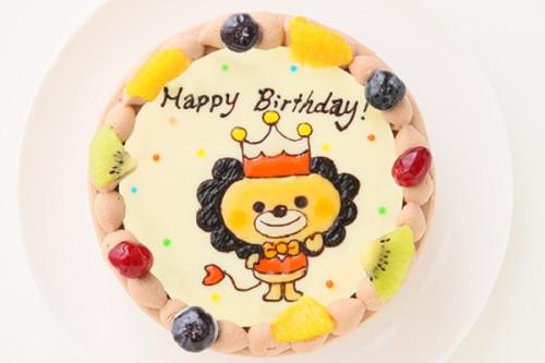 イラストチョコ生クリームデコレーションケーキ  5号 15cm