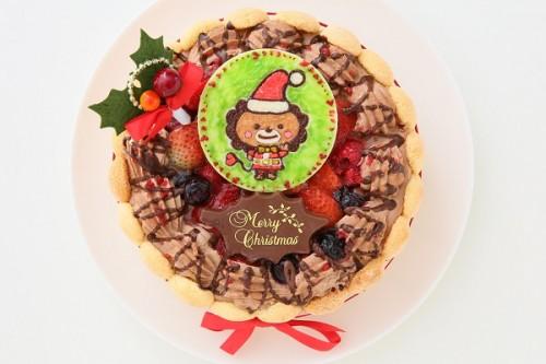 クリスマスケーキ2018 たっぷりベリーのイラスト チョコ生クリームデコレーション 3号 9cm