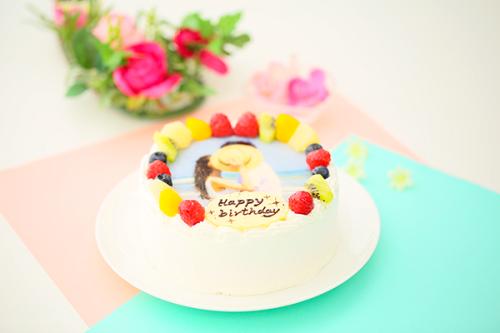 贅沢苺2段サンド 写真ケーキ 生クリーム 4号 12cm