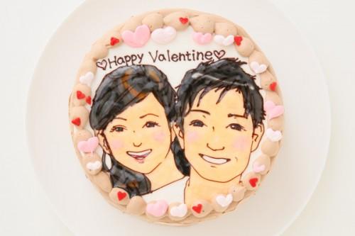 バレンタイン限定 似顔絵カップルケーキ チョコ生クリーム 5号 15cm