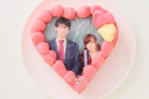 キイチゴのチョコガナッシュ(生チョコ)のバレンタインフォトケーキ 5号 15cm