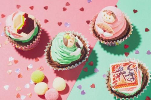 ひな祭りカップケーキ 2個セット(イチゴ、抹茶)