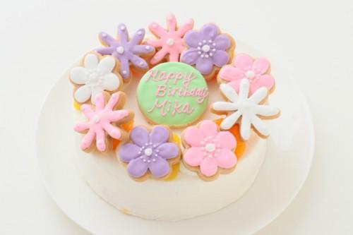 お花畑のアイシングクッキーデコレーション 生クリーム 5号 15cm