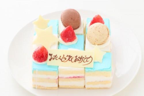 キャレデコレーションケーキ青 14.5cmx14.5cm