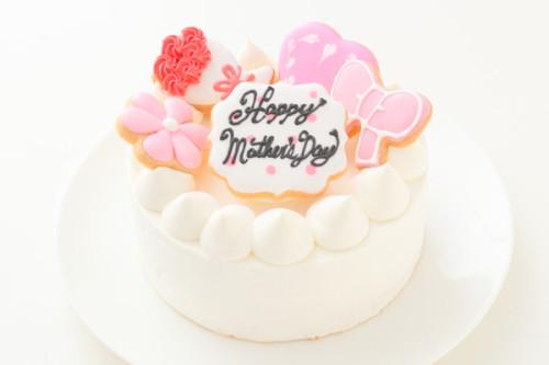 母の日アイシングクッキー乗せデコレーションケーキ 5号 15cm