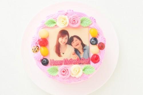 母の日 メッセージが入るお花畑の写真ケーキ 5号 15cm