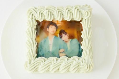 抹茶スクエア写真ケーキ 5号 15cm