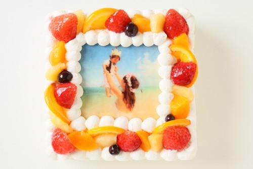 写真ケーキ生クリーム 4号サイズ 12cm×12cm
