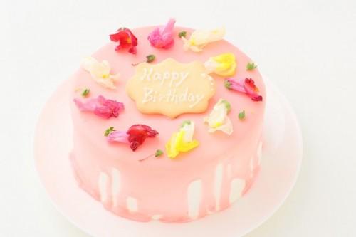 エディブルフラワー付きドリップケーキ 5号 15cm