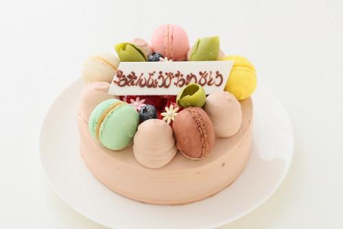 お花とマカロンのケーキ マカロン5ケ付き チョコ生 5号 15cm