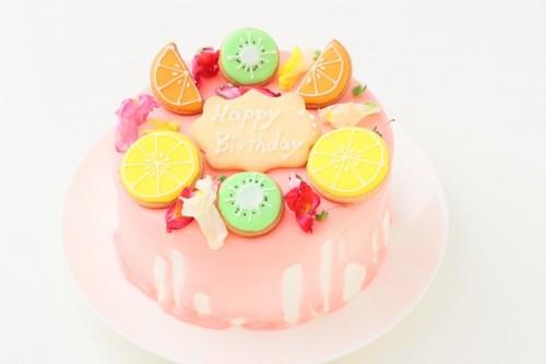 アイシングクッキー+エディブルフラワー付きドリップケーキ 5号 15cm