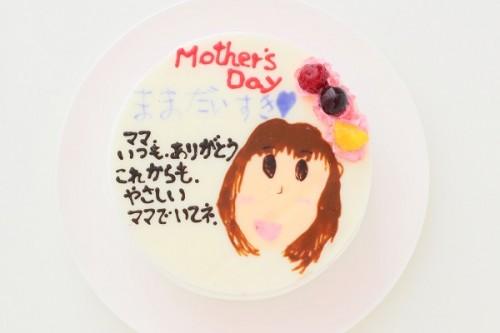母の日 手描き似顔絵ケーキ 5号 15cm