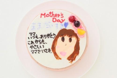 母の日 手描き似顔絵ケーキ チョコ 5号 15cm