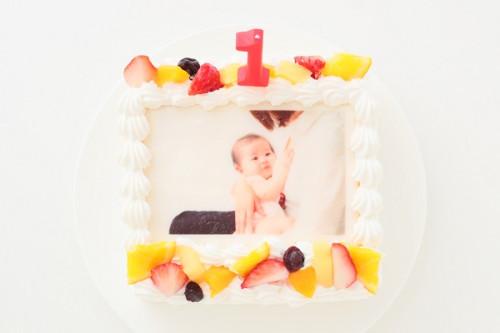 ファーストバースデー 写真ケーキ 1キャンドル付き 卵抜き1歳の豆乳クリームケーキ 6号 18cm