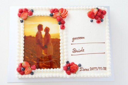 フォト結婚証明書ケーキ 30cm×40cm
