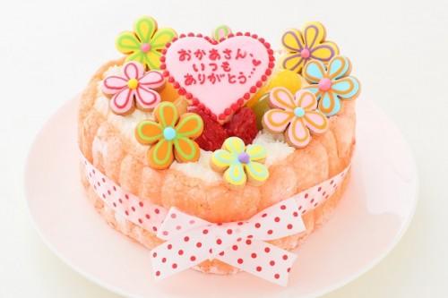 母の日 ピンクのハートビスキュイ 花デコ 5号 15cm