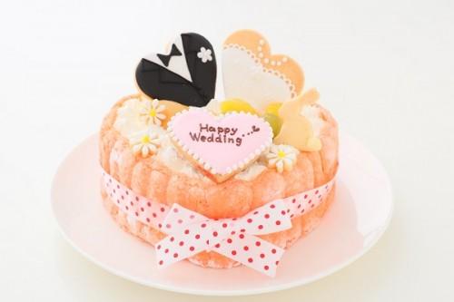 洋装アイシングクッキーデコ ピンクのビスキュイハ-ト 5号 15cm