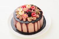 自分で仕上げる!!2種類のチョコレートを使った生チョコクリームのドロップケーキ 5号 15cm