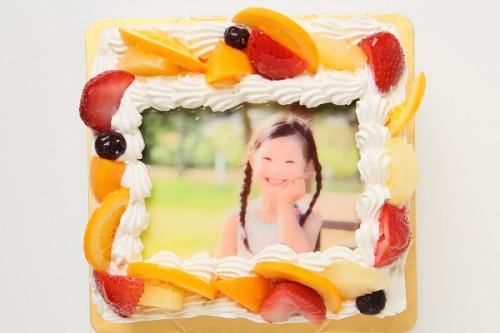 豆乳クリーム 写真ケーキ 5号サイズ 15cm×15cm