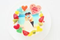 ブライダルパーティ専用写真ケーキ 生クリーム 4号 12cm