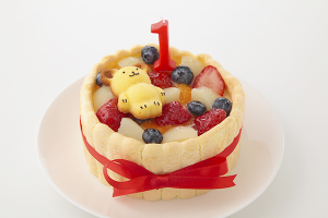 くまのフィナンシェ付 4号 豆乳クリームのファーストバースデーケーキ
