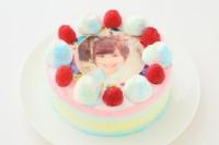 レインボーなユニコーンケーキ(写真ケーキ) 5号 15cm