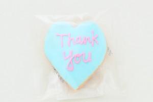 ハートアイシングクッキー ブルー Thankyou 10枚セット