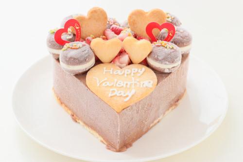 バレンタイン ハート型 チョコレートアイスクリームのデコレーションケーキ 4号 12cm