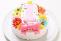 デコもり。Happy 1st birthdaycake 生クリーム・豆乳クリーム・チョコ生クリーム 3号 9cm